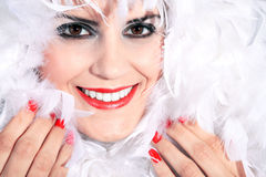 Elegant woman with feather boa Stock Image