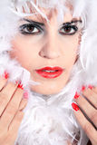 Elegant woman with feather boa Stock Photography