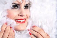 Elegant woman with feather boa Stock Photos