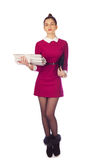 Elegant woman with files Stock Photos