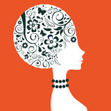 Elegant woman floral silhouette Stock Photography
