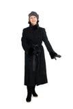 Elegant woman in a fur coat from broadtail. (karakul, astrakhan, lambskin Royalty Free Stock Photography