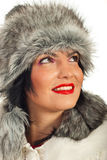 Elegant woman in fur hat looking up Royalty Free Stock Photo