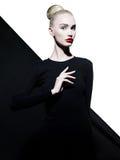 Elegant woman in geometric black and white background Stock Photos
