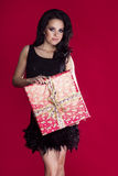 Elegant woman with gift. Royalty Free Stock Images