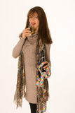 Elegant woman with a glass of champagne Stock Image