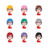 Elegant woman with glasses - 9 different hair colors. ( flat colors Royalty Free Stock Image