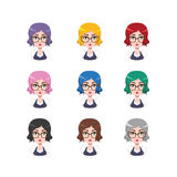 Elegant woman with glasses - 9 different hair colors. ( flat colors Royalty Free Stock Images