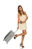 Elegant woman going to travel Royalty Free Stock Image