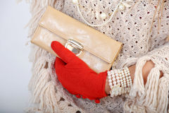 Elegant woman hand with blues purse Stock Photo