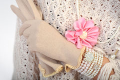 Elegant Woman Hand With Gloves Royalty Free Stock Photography
