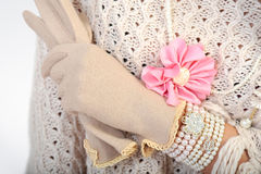 Elegant Woman Hand With Gloves Royalty Free Stock Photos