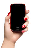Elegant woman hand holding a smart phone Stock Photography