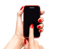 Elegant woman hands holding a smart phone Stock Photography
