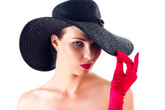 elegant woman in a hat Royalty Free Stock Images
