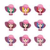 Elegant woman with hat - 9 different hair colors. ( flat colors Stock Images