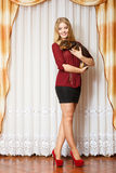 Elegant woman with her mixed dog Royalty Free Stock Images