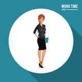 Elegant woman holding folder work time desk. Vector illustration eps 10 Royalty Free Stock Images
