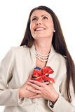 Elegant woman holding gift Royalty Free Stock Image