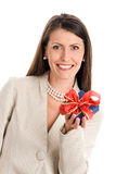 Elegant woman holding gift Stock Photo