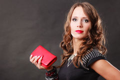 Elegant woman holding red handbag clutch bag Royalty Free Stock Images