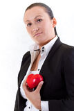 Elegant woman holding red heart Royalty Free Stock Image
