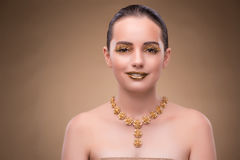 The elegant woman with jewellery in fashion concept Stock Image