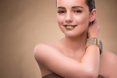 The elegant woman with jewellery in fashion concept Royalty Free Stock Image