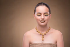 The elegant woman with jewellery in fashion concept. Elegant woman with jewellery in fashion concept Royalty Free Stock Images