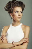 Elegant woman with luxury make up and hairstyle Royalty Free Stock Photography