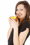 Elegant woman with the mug of beer Royalty Free Stock Images