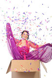 Elegant woman out of the box royalty free stock image