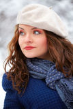 Elegant woman outdoor in winter Royalty Free Stock Photography
