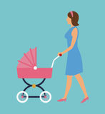 Elegant woman with pink carriage baby walking Royalty Free Stock Images