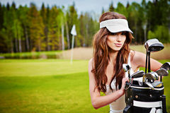 Elegant Woman Playing Golf On A Green Woman Royalty Free Stock Photos
