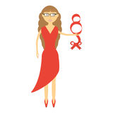 Elegant woman red dress icon. Illustration Stock Photos