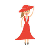 Elegant woman red dress icon. Illustration Stock Photography