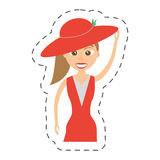 Elegant woman red dress icon. Illustration Royalty Free Stock Photography