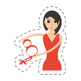 Elegant woman red dress icon. Illustration Royalty Free Stock Photo