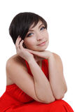 Elegant woman in red dress and make-up Royalty Free Stock Image