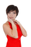 Elegant woman in red dress and make-up Stock Image