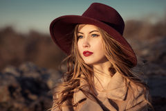 Elegant woman with red lips in hat Royalty Free Stock Image