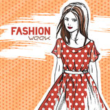 Elegant woman in retro red fashionable dress Royalty Free Stock Images