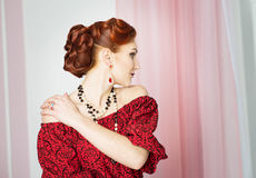 Elegant woman. Retro style. Red dress Royalty Free Stock Images