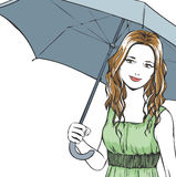 Elegant woman's portrait with umbrella in summer Stock Photos