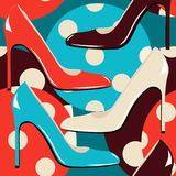 Elegant woman shoes seamless pattern Stock Images