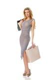 Elegant woman on shopping royalty free stock photos