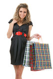 Elegant woman with shopping bags Stock Images