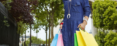 Elegant woman with shopping bags looking into distance in Paris Stock Images