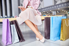 Elegant Woman with Shopping Bags Royalty Free Stock Image